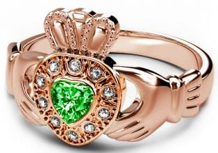 10K/14K/18K Rose Gold Genuine Diamond .13cts and Genuine Emerald .25cts Celtic Claddagh Ring - May Birthstone