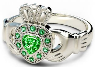10K/14K/18K  White Gold Genuine Emerald .38cts Claddagh Ring