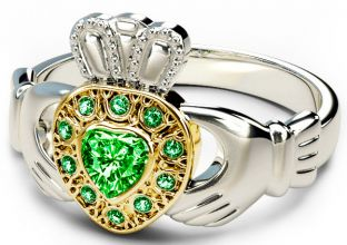 10K/14K/18K Two Tone White and Yellow Gold Genuine Emerald .38cts Claddagh Ring
