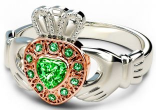 10K/14K/18K Two Tone White and Rose Gold Genuine Emerald .38cts Claddagh Ring