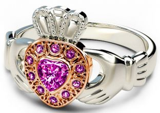 10K/14K/18K Two Tone White and Rose Gold Genuine Pink Sapphire .38cts Claddagh Ring