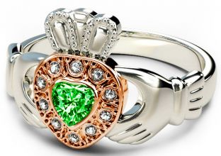 10K/14K/18K Two Tone White and Rose Gold Genuine Diamond .13cts and Genuine Emerald .25cts Celtic Claddagh Ring