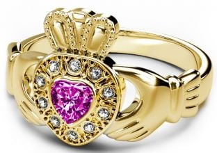 10K/14K/18K Gold Genuine Diamond .13cts Tourmaline .25cts Claddagh Engagement Ring - October Birthstone