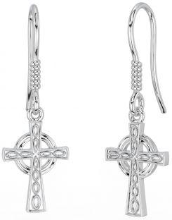 """Silver Irish """"Celtic Cross"""" Dangle Earrings"""