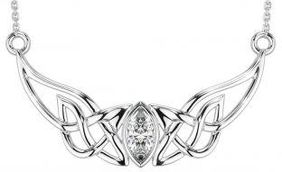 14K White Gold Solid Silver Diamond Celtic Necklace