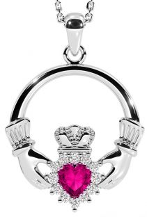 Pink Tourmaline Silver Claddagh Pendant