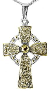 """Yellow & White Gold """"Warrior"""" Celtic Cross Pendant Necklace"""