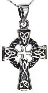 Silver Celtic Cross Knot Pendant Necklace