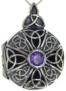 Amethyst Celtic Knot Heart Locket Pendant Necklace