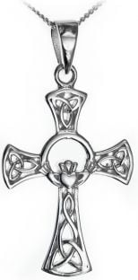 Silver Claddagh Celtic Cross Pendant Necklace