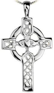 Silver Claddagh Celtic Cross Pendant