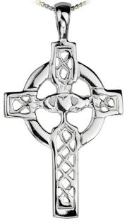 """White Gold Claddagh """"Celtic Cross"""" Pendant Necklace"""