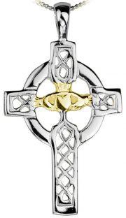 14K White Gold Silver Celtic Cross Pendant