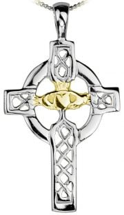 """White & Yellow Gold Claddagh """"Celtic Cross"""" Pendant Necklace"""