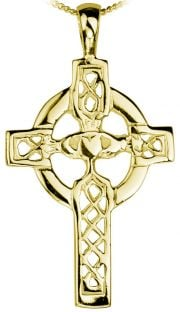 "Gold Claddagh ""Celtic Cross"" Pendant Necklace"