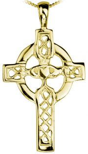 14K Gold coated Silver Claddagh Celtic Cross Pendant Necklace