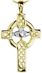 14K Yellow & White Gold Silver Claddagh Celtic Cross Pendant Necklace