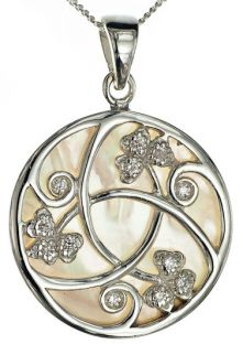 Pearl Diamond Silver Shamrock Pendant Necklace