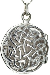 Silver Celtic Locket Pendant Necklace