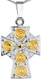 14K Gold Silver Celtic Cross Pendant Necklace