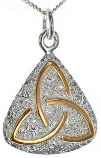14K Gold Silver Celtic Knot Pendant Necklace