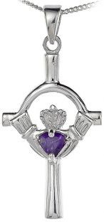 Amethyst Silver Claddagh Cross Pendant Necklace