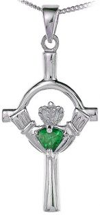 Emerald Silver Claddagh Cross Pendant Necklace