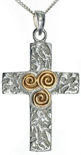 14K Gold Silver Newgrange Spiral Celtic Cross Pendant Necklace