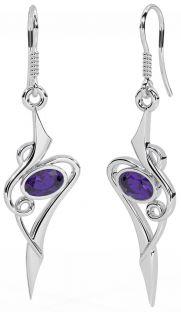 Amethyst Silver Celtic Dangle Earrings