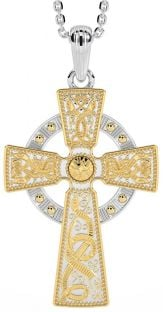 """White & Yellow Gold """"Warrior"""" Celtic Cross Pendant Necklace"""
