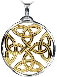 14K Gold Silver Celtic Cross Knot Pendant Necklace