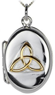 14K Gold Silver Celtic Knot Locket Pendant Necklace