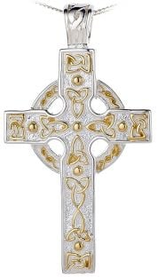 14K Two Tone Gold Silver Heavy & Thick Celtic Knot Cross Pendant Necklace