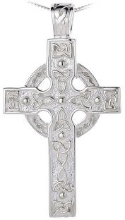 Silver Heavy & Thick Celtic Knot Cross Pendant Necklace Mens