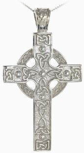 Silver Heavy & Thick Celtic Knot Cross Pendant Necklace