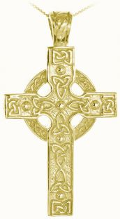14K Gold coated Silver Heavy & Thick Celtic Knot Cross Pendant Necklace