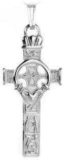"Silver Celtic Cross ""Claddagh"" Pendant"