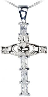 Emerald 14K White Gold Silver Claddagh Cross Pendant Necklace