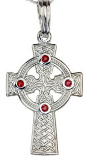 "White Gold Genuine Ruby .12cts ""Celtic Cross"" Pendant Necklace"