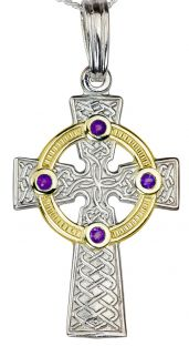 """White & Yellow Gold Genuine Amethyst .12cts """"Celtic Cross"""" Pendant Necklace"""