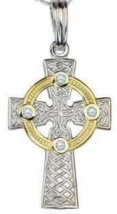 White & Yellow Gold Diamond .12cts Celtic Cross Pendant Necklace