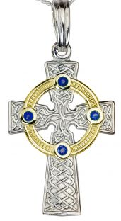 """White & Yellow Gold Genuine Sapphire .12cts """"Celtic Cross"""" Pendant Necklace"""