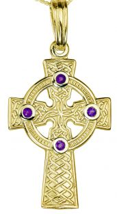 """Gold Genuine Amethyst .12cts """"Celtic Cross"""" Pendant Necklace"""