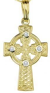 Gold Diamond .12cts Celtic Cross Pendant Necklace