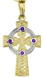 """Yellow & White Gold Genuine Amethyst .12cts """"Celtic Cross"""" Pendant Necklace"""