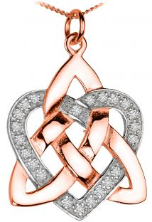 Diamond Rose Gold coated Silver Celtic Knot Heart Pendant Necklace