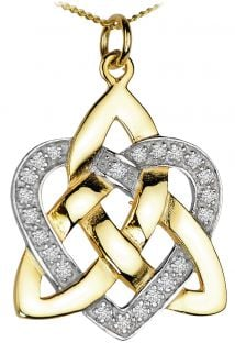 Diamond Gold coated Silver Celtic Knot Heart Pendant Necklace