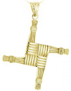 "14K Gold coated Silver Irish ""St Bridget's Cross"" Pendant Necklace"