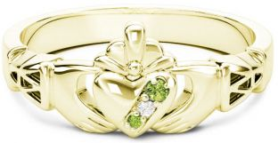 10K/14K/18K Gold Genuine Peridot.035cts Genuine Diamond .1cts Claddagh Celtic Knot Ring - August Birthstone