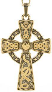 "Extra Large Mens Black Rhodium 14K Yellow Gold coated Silver ""Warrior"" Irish Celtic Cross Pendant Necklace"
